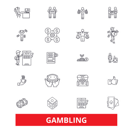 Gambling, casino,poker, roulette, slot machine, gaming,entertainment, Las Vegas line icons. Editable strokes. Flat design vector illustration symbol concept. Linear signs isolated on white background