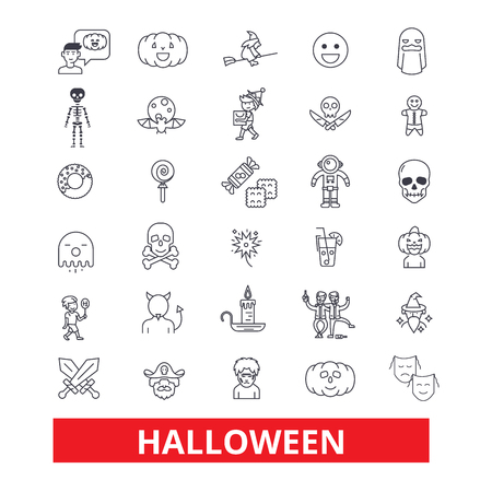 Halloween,celebration,holiday,horror,pumpkin,traditional,autumn,dayoff, pumpkin line icons. Editable strokes. Flat design vector illustration symbol concept. Linear signs isolated on white background Illustration
