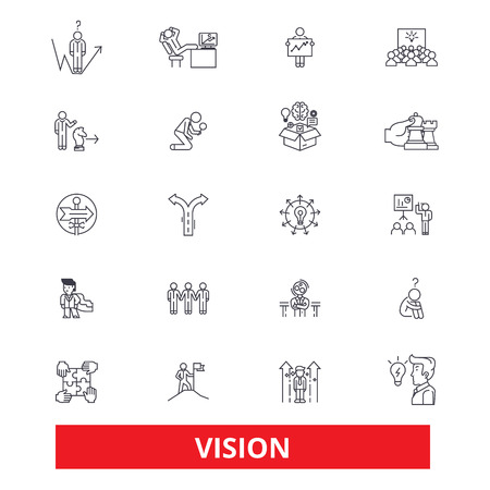 Vision, sight, mission, plan, eye, visionary, future,strategy,dream,value,idea line icons. Editable strokes. Flat design vector illustration symbol concept. Linear signs isolated on white background