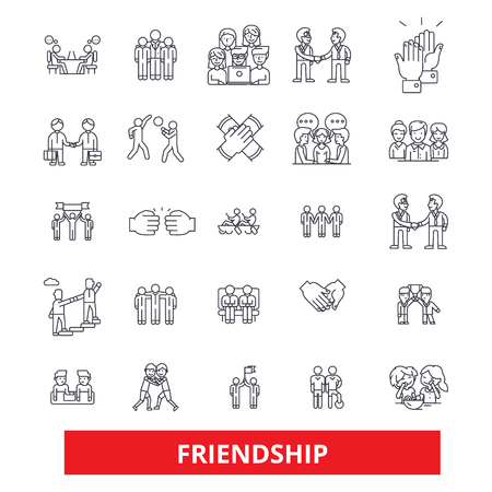 Friendship, relationship, partnership,unity,teamwork,cooperation, support, help line icons. Editable strokes. Flat design vector illustration symbol concept. Linear signs isolated on white background Illustration