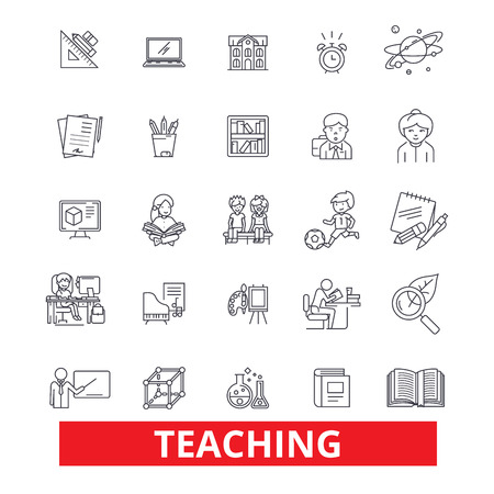 Teaching, education, training, instruction, mentorship, school line icons. Editable strokes. Flat design vector illustration symbol concept. Linear signs isolated on white background