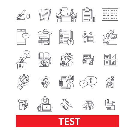 Test, exam,examination, quiz, assessment,evaluation, check line icons. Editable strokes. Flat design vector illustration symbol concept. Linear signs isolated on white background