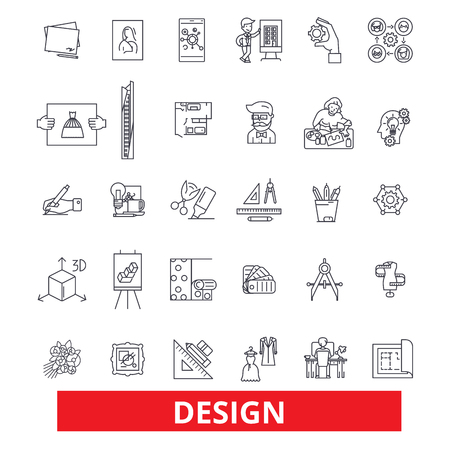 Design, layout, plan, cover, outline, presentation, style, blueprint, development line icons. Editable strokes. Flat design vector illustration symbol concept. Linear signs isolated on background Illusztráció
