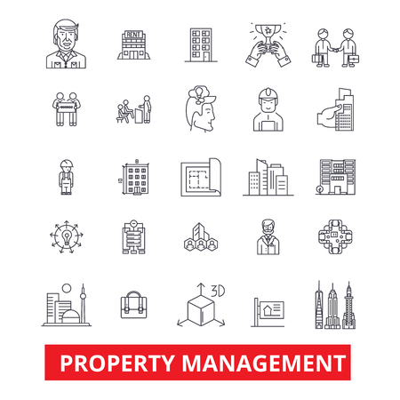 Property management, maintenance, real estate, landlord, rent line icons. Editable strokes. Flat design vector illustration symbol concept. Linear signs isolated on white background