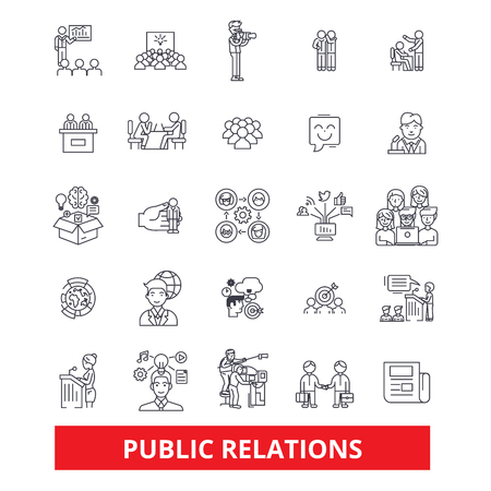 Pubility, fame, advertising, public relations, reputation, marketing, promote, line icons. Editable strokes. Flat design vector illustration symbol concept. Linear signs isolated on white background Illusztráció