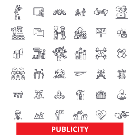 Public relations, contact, reputation, communication,media, advertising, promote line icons. Editable strokes. Flat design vector illustration symbol concept. Linear signs isolated on white background Illusztráció