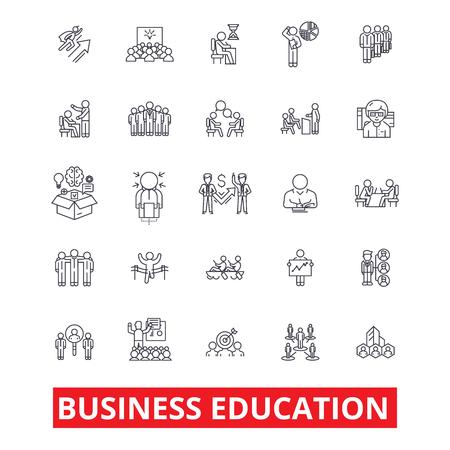 Zakelijk onderwijs, MBA, training, coaching, mentorschap, stage, leren, studielijnpictogrammen. Bewerkbare lijnen. Platte ontwerp vector illustratie symbool concept. Lineaire tekens die op achtergrond worden geïsoleerd