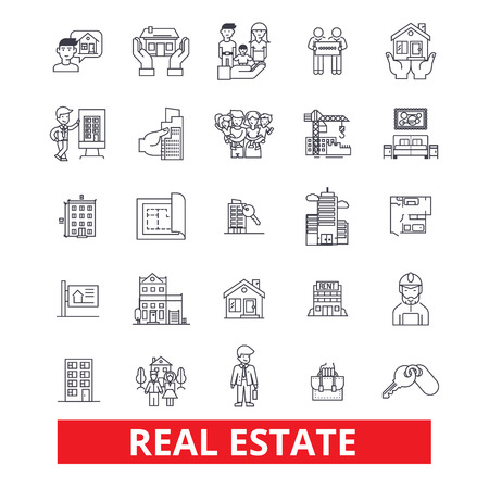 Real estate, land, lot, house, property, construction, realtor, building, realty line icons. Editable strokes. Flat design vector illustration symbol concept. Linear signs isolated on white background Illustration