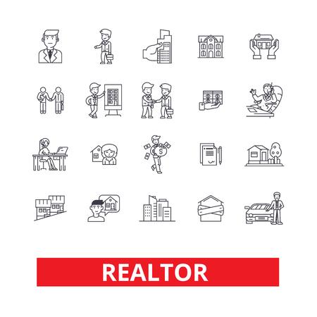 Realtor, broker, negotiator, real estate agent, representative, businessman line icons. Editable strokes. Flat design vector illustration symbol concept. Linear signs isolated on white background