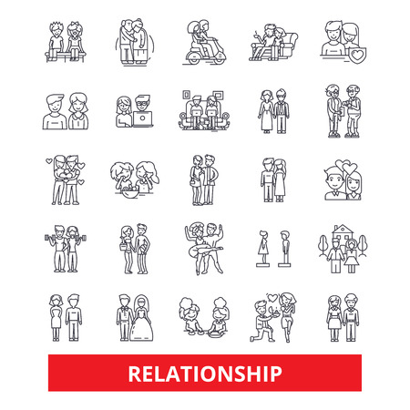Relationship, friendship,connection, partnership, teamwork,cooperation, marriage line icons. Editable strokes. Flat design vector illustration symbol concept. Linear signs isolated on white background Illustration