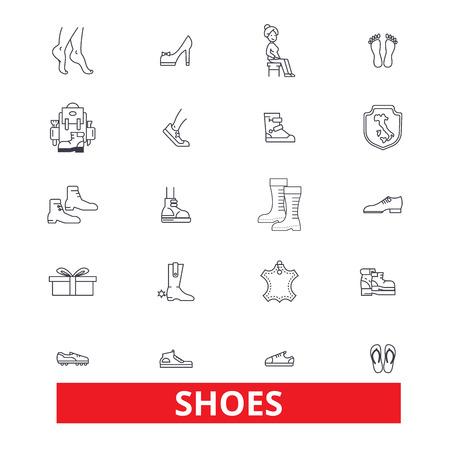 Chaussures, femmes, chaussures, crampons, pantoufles, bottes, espadrilles, talons, mocassins ligne icônes. Traits éditables. Concept de symbole illustration vectorielle design plat. Signes linéaires isolés sur fond blanc Banque d'images - 82861877