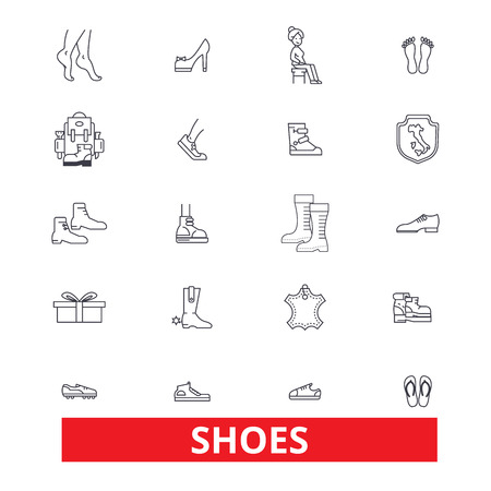 Shoes, women, footwear, cleats, slippers, boots, sneakers, heels, moccasins line icons. Editable strokes. Flat design vector illustration symbol concept. Linear signs isolated on white background Фото со стока - 82861877