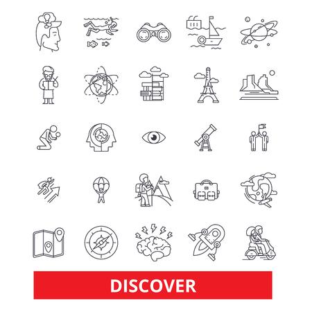 Ontdek, ontdekkingsreiziger, vind, vergrootglas, kompas, zoeken, onthullen, reizen, leren lijn iconen. Bewerkbare lijnen. Platte ontwerp vector illustratie symbool concept. Lineaire tekens die op achtergrond worden geïsoleerd