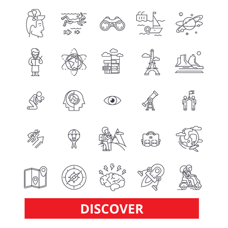Discover, explorer, find, magnifying glass, compass, search, reveal, travel, learning line icons. Editable strokes. Flat design vector illustration symbol concept. Linear signs isolated on background