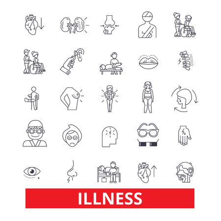 Illness,affliction, ailment, sickness, disease, unwell, unhealthy, breakdown line icons. Editable strokes. Flat design vector illustration symbol concept. Linear signs isolated on white background