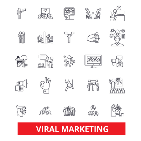 Viral, word of mouth, social media, advertising, marketing, social network line icons. Editable strokes. Flat design vector illustration symbol concept. Linear signs isolated on white background