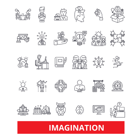 Imagination,creativity, inspiration,innovation,talent, artistry, fantasy line icons. Editable strokes. Flat design vector illustration symbol concept. Linear signs isolated on white background