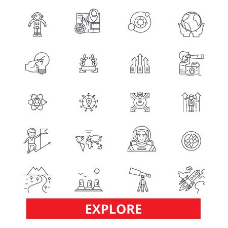 Verkennen, avontuur, ontdekken, expeditie, zoeken, openen, reizen, lijnpictogrammen leren. Bewerkbare lijnen. Platte ontwerp vector illustratie symbool concept. Lineaire tekens die op witte achtergrond worden geïsoleerd