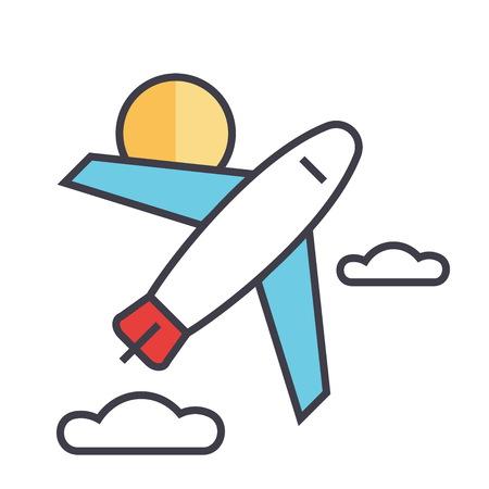 비행기 평면 선형 그림 흰색 배경에 고립 된