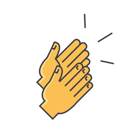 Applause, clapping hands concept flat linear illustration isolated on white background Ilustração