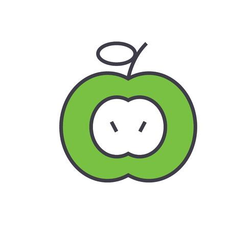 白い背景で隔離グリーンアップル概念平面線形図