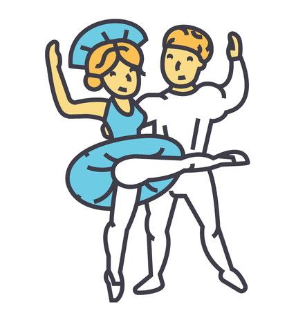 Ballet couple, flat linear illustration isolated on white background Illustration
