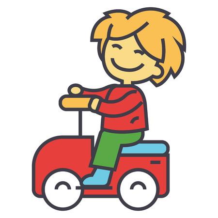 Enfant conduisant une grosse voiture à jouet et s'amuser, illustration linéaire plate isolée sur fond blanc Banque d'images - 83637261