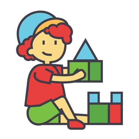 Jongen het spelen met een kleurrijke vlakke vlakke die illustratie van speelgoedbakstenen op witte achtergrond wordt geïsoleerd
