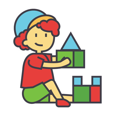 Boy playing with a colorful toys bricks flat linear illustration isolated on white background