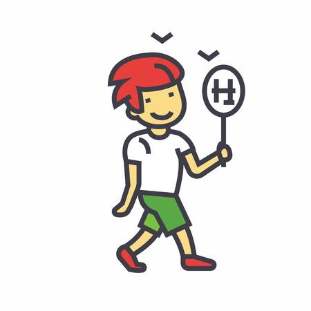 Cute boy marche avec un plat de bonbons doux illustration isolé sur fond blanc Banque d'images - 83637263