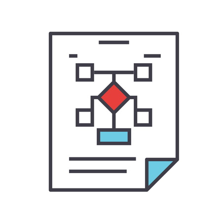 Business organization flowchart icon.