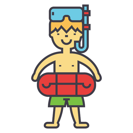 Boy with swimming mask and ring in pool icon.
