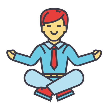 Employee meditating in yoga position. Illustration