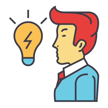 Creative businessman,  great business idea is in form of a light bulb, brainstorm concept. Line vector icon. Editable stroke. Flat linear illustration isolated on white background