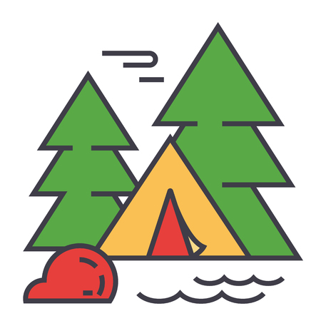 Forest camping, tourist tent, travel adventure concept. Line vector icon. Editable stroke. Flat linear illustration isolated on white background Stock Vector - 84122610