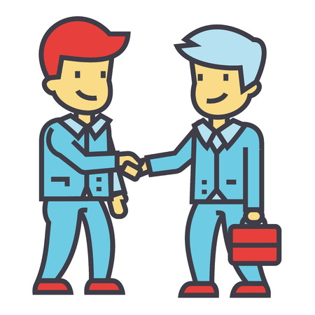cerrando negocio: businessmen handshaking, business partnership, working meeting, good deal concept. Line vector icon. Editable stroke. Flat linear illustration isolated on white background
