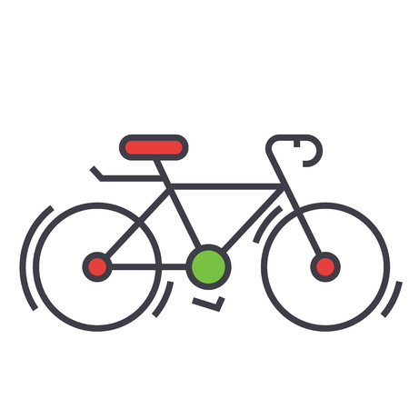 Bicycle, bike, race concept. Line vector icon. Editable stroke. Flat linear illustration isolated on white background Stock Vector - 84122607