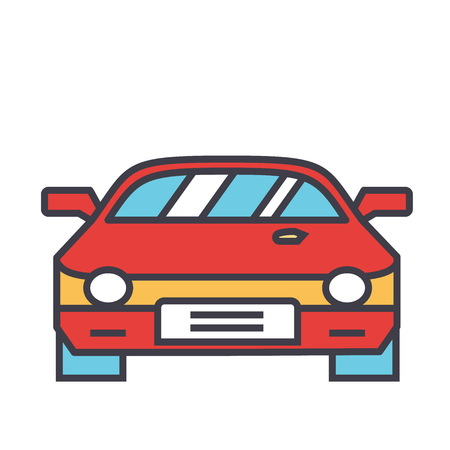 Race car, racing concept. Line vector icon. Editable stroke. Flat linear illustration isolated on white background Illustration