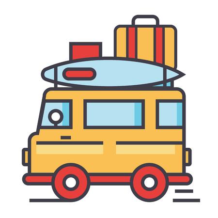Caravan, viaggi, rimorchio da campeggio, concept van. Icona vettoriale linea. Corsa modificabile. Illustrazione lineare piatta isolato su sfondo bianco