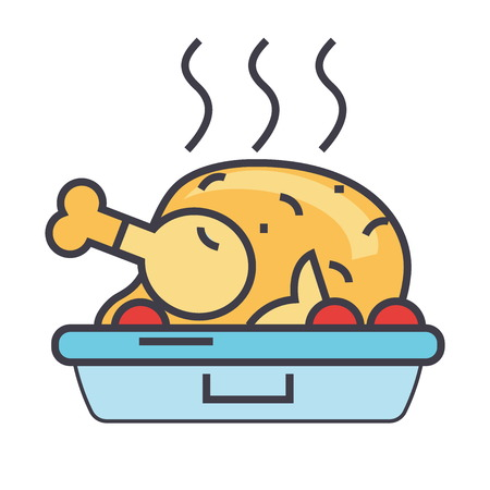 Roasted chicken, fried hen, party food concept. Line vector icon. Editable stroke. Flat linear illustration isolated on white background