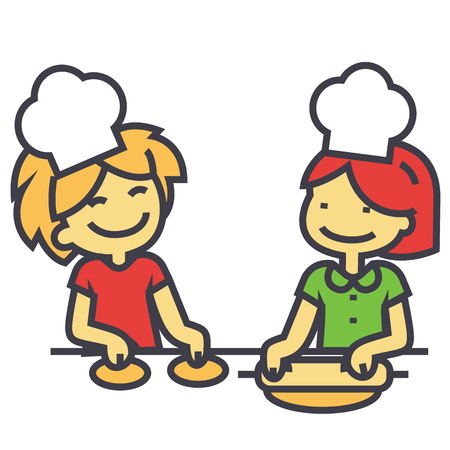pals: Children cooking, cooking classes for kids concept. Line vector icon. Editable stroke. Flat linear illustration isolated on white background Illustration