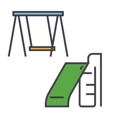 어린이 슬라이드 및 스윙, 공원 놀이터 장비 개념. 라인 벡터 아이콘입니다. 편집 가능한 획. 평면 선형 그림 흰색 배경에 고립 된