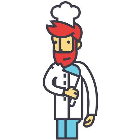 シェフ、炊飯器、レストランのキッチンのコンセプトです。行ベクトルのアイコン。編集可能なストローク。白い背景に分離された平面線形図