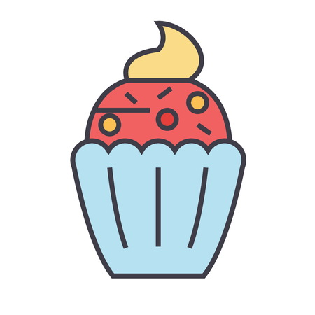 Cupcake concept. Line vector icon. Editable stroke. Flat linear illustration isolated on white background Illustration