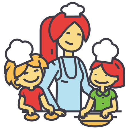 Mujer feliz cocinar con niños, madre con hija e hijo en la cocina, concepto de la familia de la panadería. Icono de vector de línea. Trazo editable. Ilustración linear plana aislada sobre fondo blanco Foto de archivo - 84149733