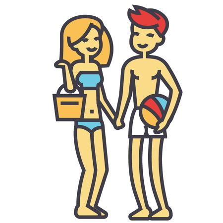 ビーチウェア、若い女性そして人休暇の概念のハッピービーチ カップル。行ベクトルのアイコン。編集可能なストローク。白い背景に分離された平