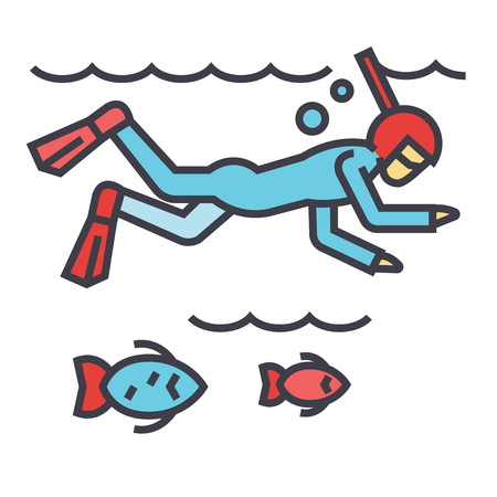 Diving in the sea with fish, scuba diving, snorkeling concept. Line vector icon. Editable stroke. Flat linear illustration isolated on white background Illustration