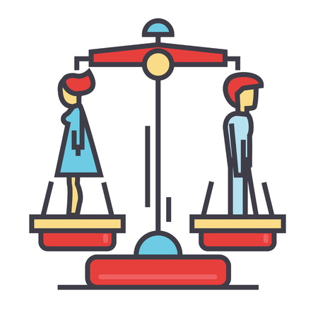 Divorce man and woman concept. Line vector icon. Editable stroke. Flat linear illustration isolated on white background