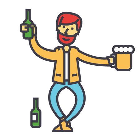 Betrunkener Mann, Alkoholiker, Alkoholismuskonzept. Linie Vektor-Symbol Bearbeitbarer Strich Flache lineare Abbildung getrennt auf weißem Hintergrund Standard-Bild - 84122390