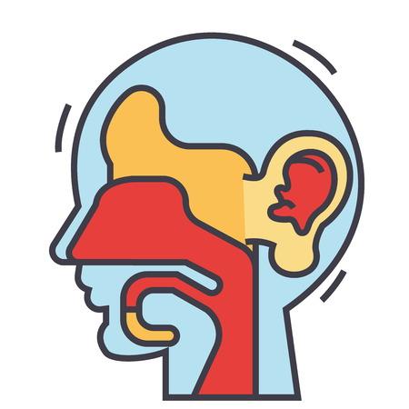 耳、鼻、喉、ent の概念。行ベクトルのアイコン。編集可能なストローク。白い背景に分離された平面線形図